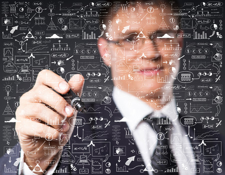 graph theory: Businessman working with a business plan. Financial, currency, technology and money concept.
