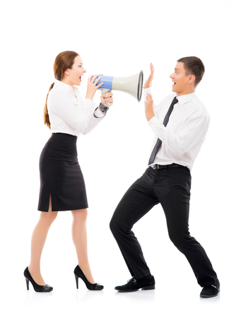 mockery: Angry and irritated business woman screaming on her employee. Feminism and emancipation concept.