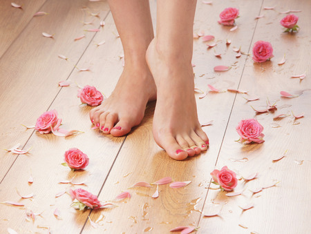 foot steps: Spa compositions of sexy female legs and plenty of different petals  and flowers Stock Photo