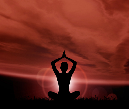 astral: Astral meditation. Silhouette of a woman doing yoga exercise.