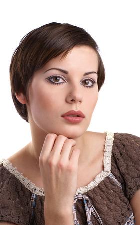 Attractive retro woman over white background