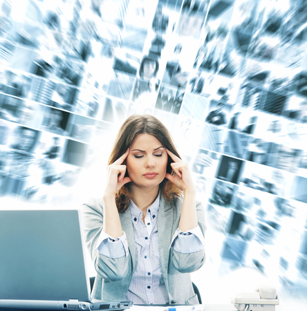 Young and attractive business woman in stress Stock Photo
