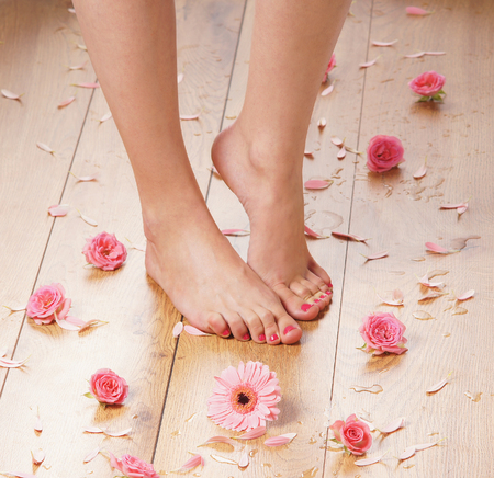 beautiful legs: Spa compositions of sexy female legs and plenty of different petals  and flowers Stock Photo