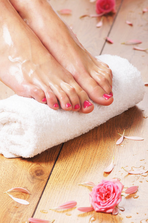 body spa: Spa compositions of sexy female legs and plenty of different petals  and flowers Stock Photo