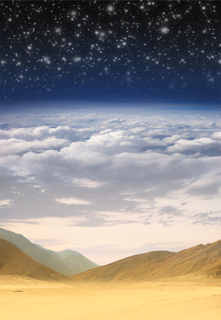 Collage: desert, sky, clouds, stratosphere and space in one image