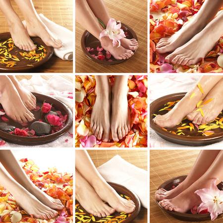 pies sexis: Collage con las piernas hermosas sobre el fondo del balneario Foto de archivo