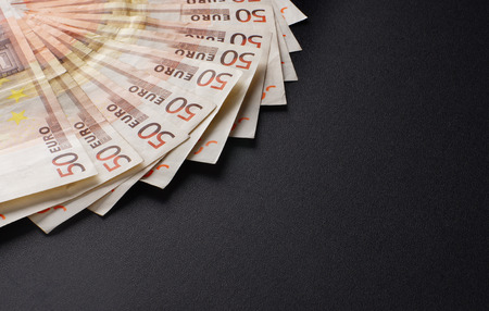european money: A lot of european money over black background Stock Photo
