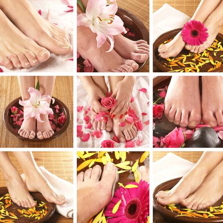 pedicura: Sexy piernas frescas sobre fondos de spa Foto de archivo