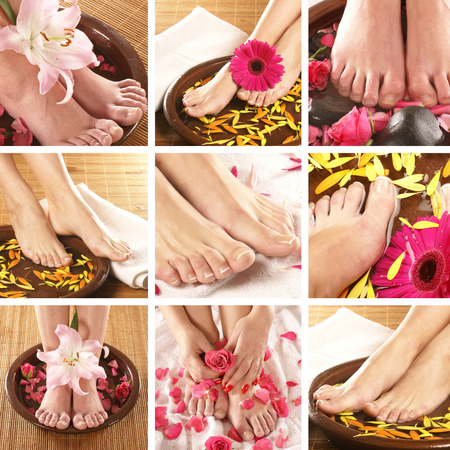 beautiful feet: Fresh sexy legs over spa backgrounds Stock Photo