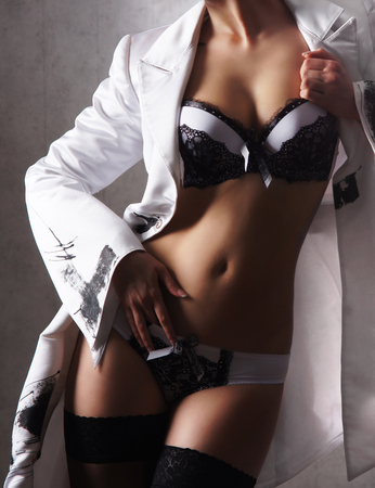 sexy nude women: Sexy woman in nice lingerie Stock Photo