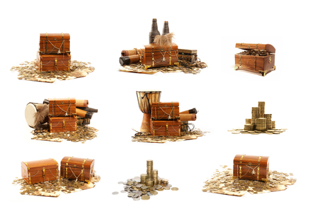 gold and silver coins: Treasure chest isolated on white background