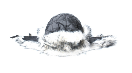 russian hat: Russian traditional warm hat with earlaps isolated on white