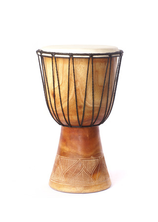african culture: Ancient drum isolated on white