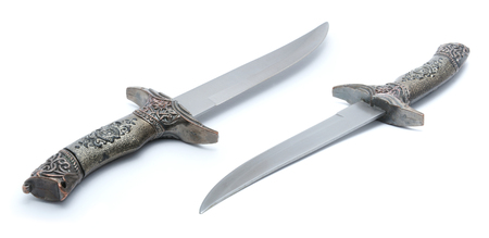 Silver dagger isolated on white background