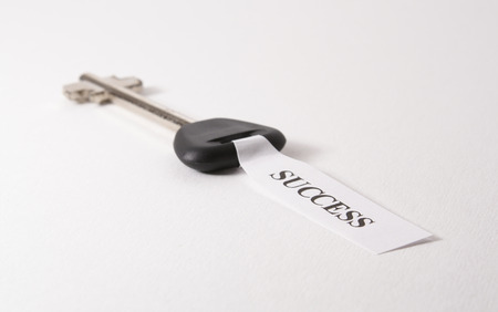 sucess: Key to sucess isolated on white background