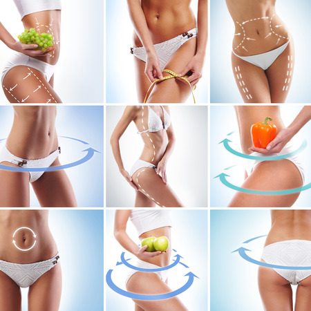 belly pepper: Perfect body with arrows on it. Dieting, sport, fitness and healthy eating collage. Stock Photo