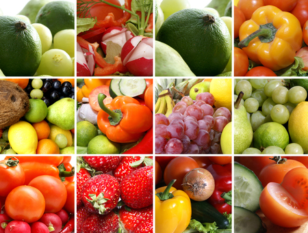 fruit and vegetable: Nutrition collage of nine pictures