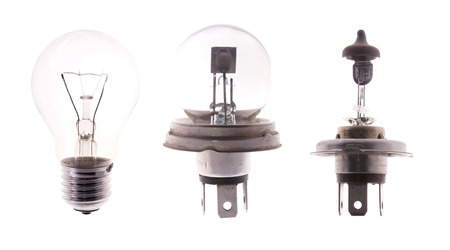 metal filament: Transparent bulb lamps isolated on white background