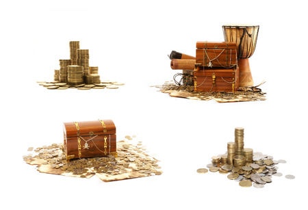 treasures: Treasure chest isolated on white background