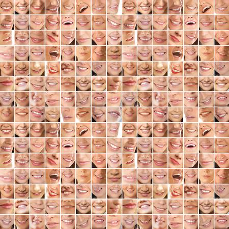 Collage, die aus vielen verschiedenen Lächeln Standard-Bild - 44633516