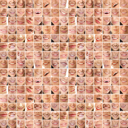 Collage, made of many different smiles Stockfoto