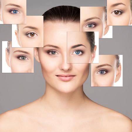 Retrato de mujer joven, sano y hermoso (oftalmología, optometría y lentes de contacto concepto de elección)