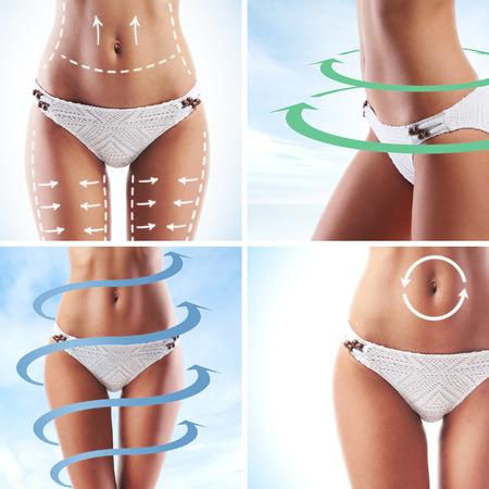 culetto di donna: Corpo femminile con le frecce di disegno. Grasso perdere, la liposuzione e il concetto eliminazione della cellulite. Archivio Fotografico