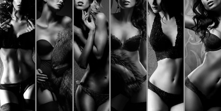 nude pose: Beautiful women posing in underwear. Black and white lingerie collage. Stock Photo
