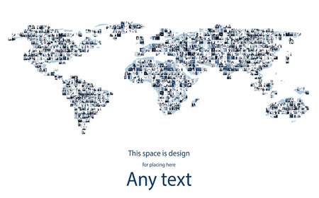 International business, businesspeople, worldwide communication and stock exchange  concept. Giant collage. Blank space for any text. Stock Photo