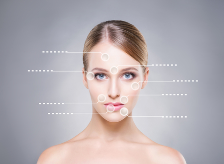 Attractive girl with arrows pointing on different parts of face. Medical concept.