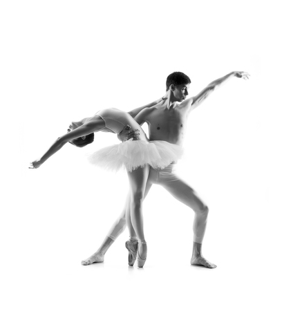 Couple of ballet dancers isolated on white. Black and white