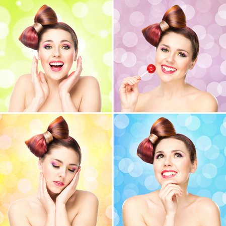 Beautiful smiling woman with a lollipop on bubble background. Portrait collection. Stock Photo