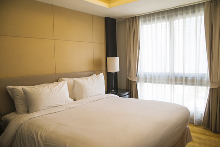 luxury hotel room: Luxury, modern hotel room cleaned and ready for check-in. Stock Photo