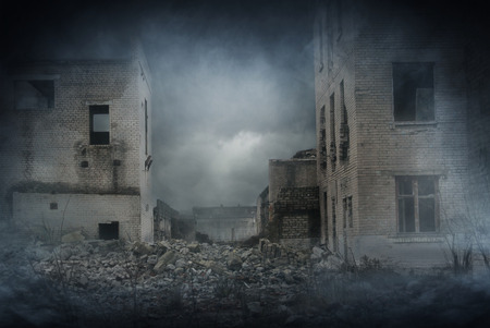 demolished: Apocalyptic ruins of the city. Disaster effect.
