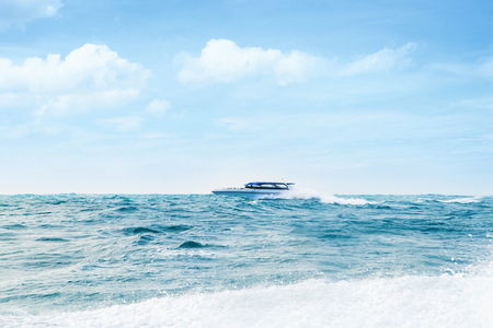 hovercraft: Big and luxury motorboat in the sea. Speedboat vessel.