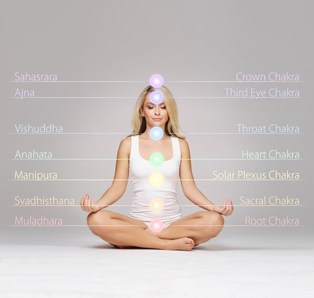 Woman meditating in lotus position. Colored chakra lights over her body. Yoga, zen, Buddhism, recovery and wellbeing concept. Stock Photo