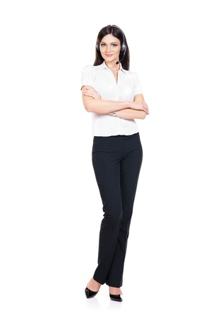 Young, confident and beautiful customer support operator isolated on white. Occupation, career, job concept.
