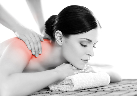 healer: Healthy beautiful woman in a spa. Recreation energy health massage healing concept.