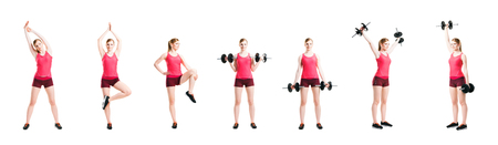 Fit, healthy and sporty woman in sportswear making physical exercises isolated on white. Set collection.