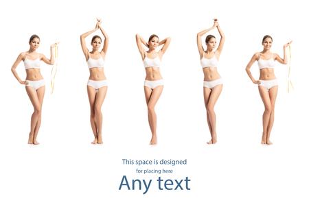 Corps féminin sportif et en forme en maillot de bain. Concept de santé, de vitamines, de fitness, de sport et de nutrition. Banque d'images - 73867121