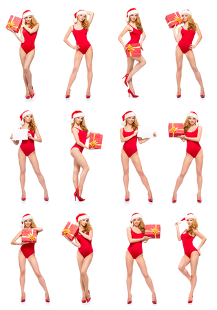Collage of different photos of young, beautiful and sexy Santa girl posing isolated on white. Stock fotó