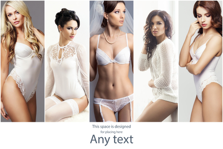 Bridal lingerie concept collection. Young, beautiful , pretty and sexy girls in white underwear.