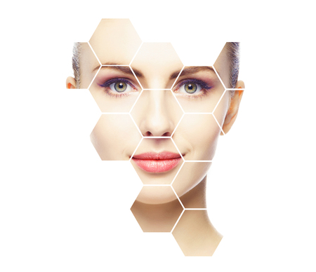 Schönes Gesicht des jungen und gesunden Mädchens. Plastische Chirurgie, Hautpflege, Kosmetik und Facelifting-Konzept.