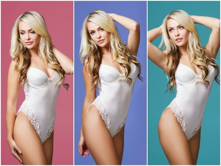 Collage of a beautiful and sexy girl in white underwear over colorful background. Fashion, vogue and beauty concept.