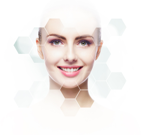 Human face in honeycomb. Young and healthy girl in plastic surgery, medicine, spa and face lifting concept.