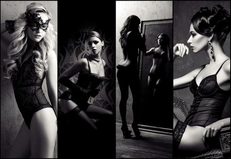 Collectie van jonge vrouwen in sexy lingerie. Mooie meisjes die zich voordeed in ondergoed. Schoonheid