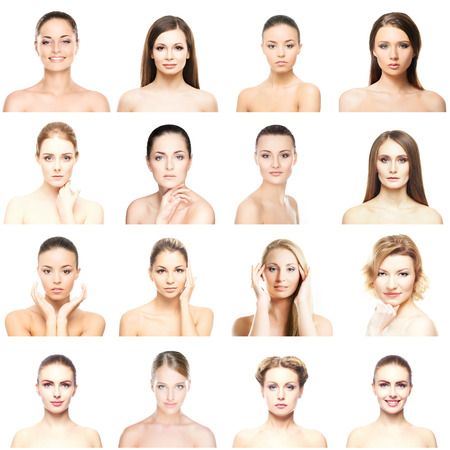 Collage of beautiful, healthy and young spa portraits. Faces of different women. Face lifting, skincare, plastic surgery and make-up concept. Stock Photo