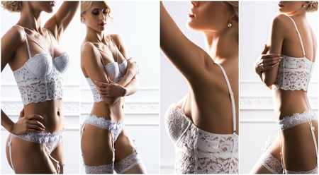 Bridal lingerie concept collage. Young, beautiful and sexy girls in white underwear.