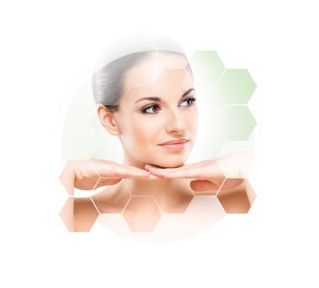 젊고, 건강하고 아름다운 여자 성형 수술, 피부 리프팅, 스파, 화장품 및 의약품 개념의 초상화 스톡 콘텐츠