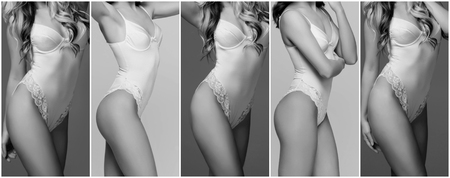 Sexy and beautiful brides in underwear. Young fashion model posing in sexy lingerie. Black and white collage.